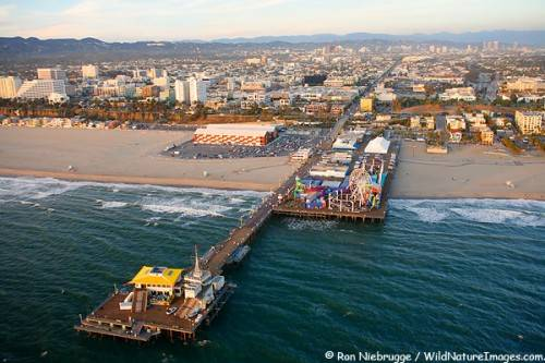 Aerial view the Santa Monica Pier, near Los Angeles, California.